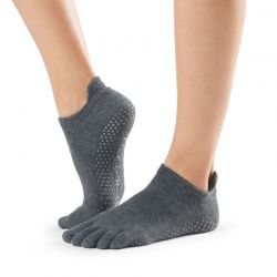 Chaussettes Pilates Toesox® Full Toe Lowrise Charcoal Grey
