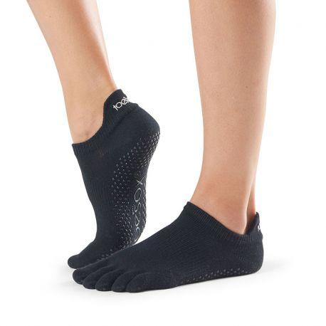 Chaussettes Pilates Toesox® Full Toe Lowrise Noir