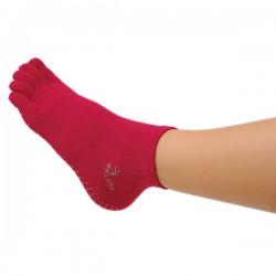 Chaussettes Pilates, fuschia (S/ M) avec orteils - Chausettes Antidérapantes - Chaussettes à orteils - Exercices Pilates