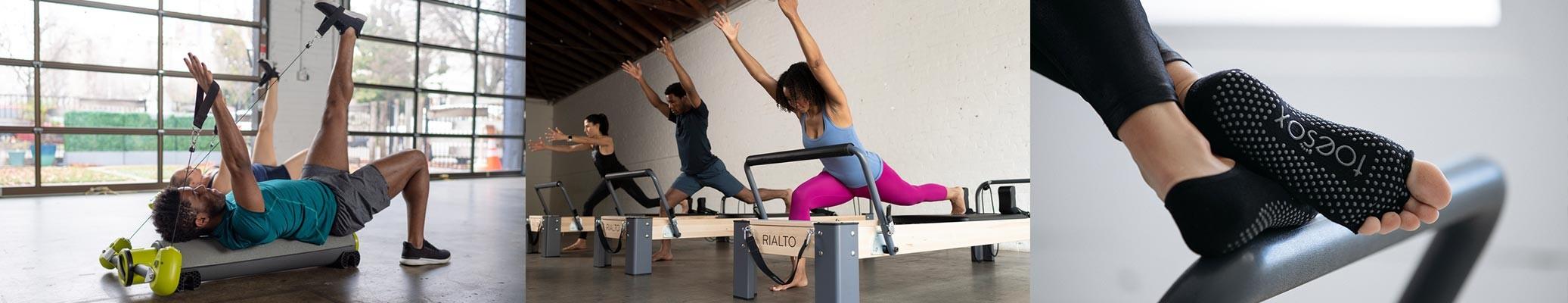 Exerice avec MOTR - Utilisation Reformers pilates - Chaussettes Pilates ToeSox