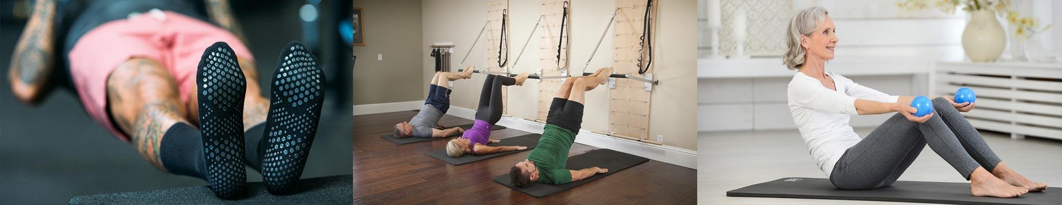 Chaussettes Pilates -  Exercice au mûr Corealign - Utiisation Soft Balls