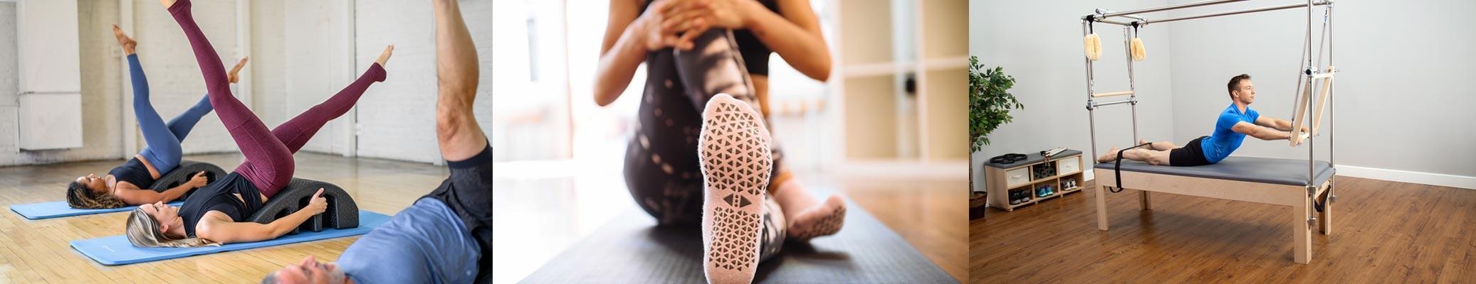 Exercice avec Pilates Arc - Chaussettes Pilates anti-dérapentes - Utilisation reformer trapèze